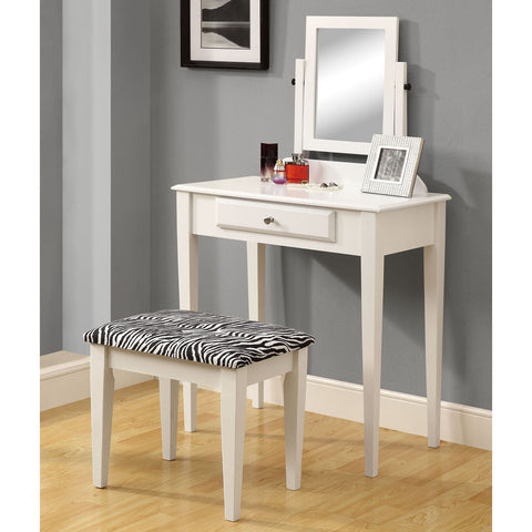 Monarch Specialties 3390 2 Piece Vanity Set w/ Zebra Fabric Stool in White