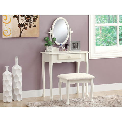 Monarch Specialties 3412 2 Piece Vanity Set in Antique White