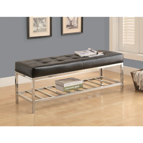 Monarch Specialties 4535 Bench in Black w/ Chrome Metal