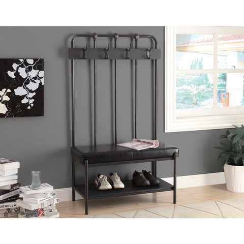 Monarch Specialties 4545 Hall Entry Bench in Charcoal Gray