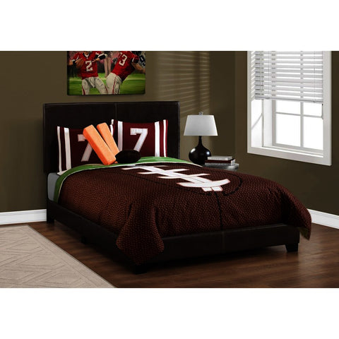 Monarch Specialties 5910F Full Upholstered Platform Bed in Dark Brown Leather-Look