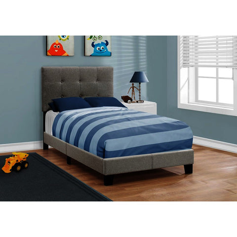 Monarch Specialties 5920 Upholstered Platform Bed in Grey Linen
