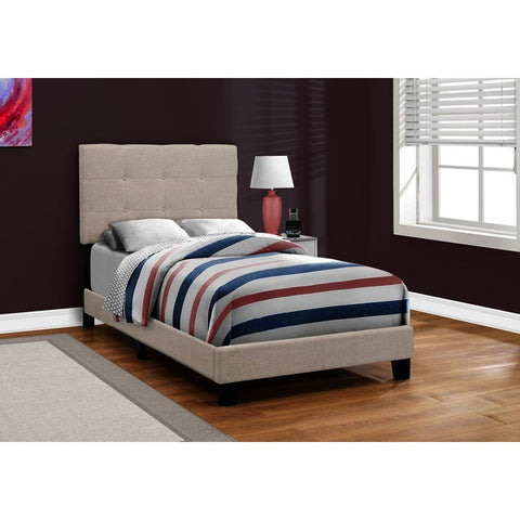 Monarch Specialties 5921 Upholstered Platform Bed in Beige Linen