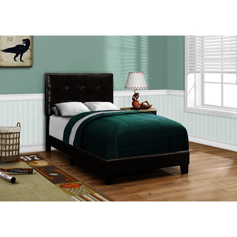 Monarch Specialties 5922 Upholstered Platform Bed in Dark Brown Leather-Look