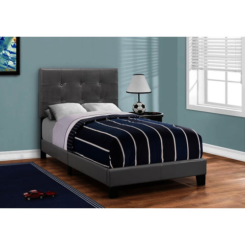 Monarch Specialties 5923T Twin Upholstered Platform Bed in Grey Leather-Look