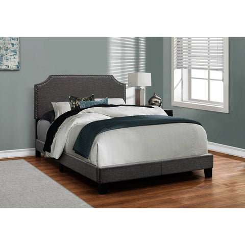 Monarch Specialties 5925 Upholstered Platform Bed in Grey Linen w/Chrome Trim