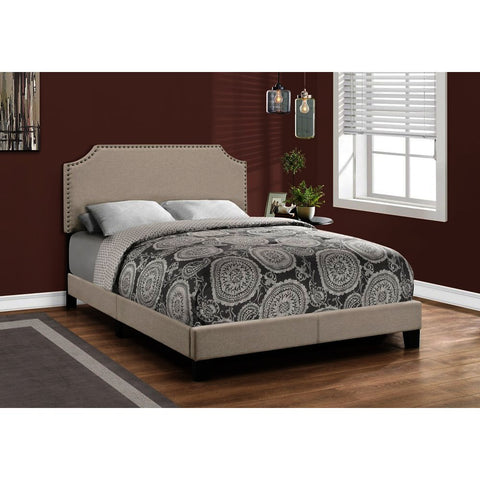 Monarch Specialties 5926 Upholstered Platform Bed in Beige Linen w/Antique Brass Trim