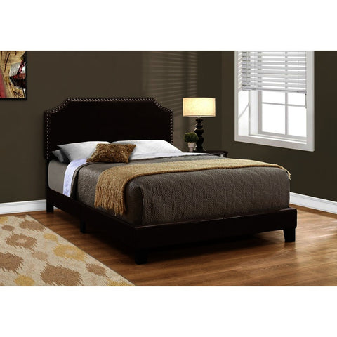 Monarch Specialties 5927 Upholstered Platform Bed in Dark Brown Leather-Look w/Brass Trim