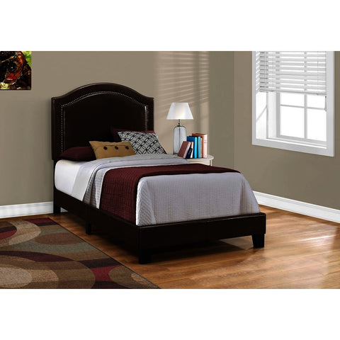 Monarch Specialties 5938 Upholstered Platform Bed in Brown Leather-Look w/Brass Trim