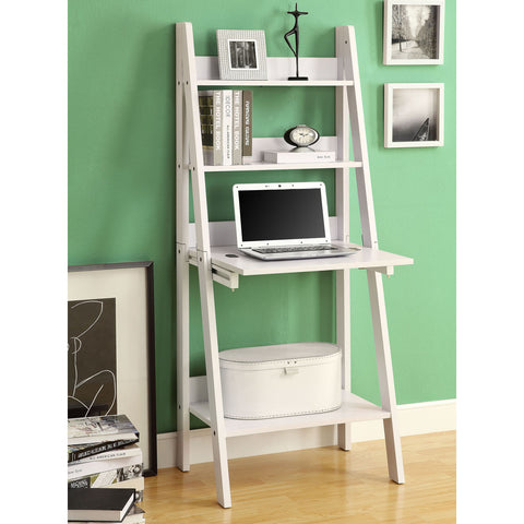 Monarch Specialties 7040 61 Inch Ladder Bookcase w/ Drop-Down Desk in Cappuccino