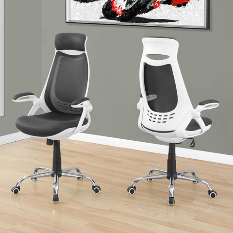 Monarch Specialties 7269 High-Back Executive Office Chair in White /Grey Mesh & Chrome