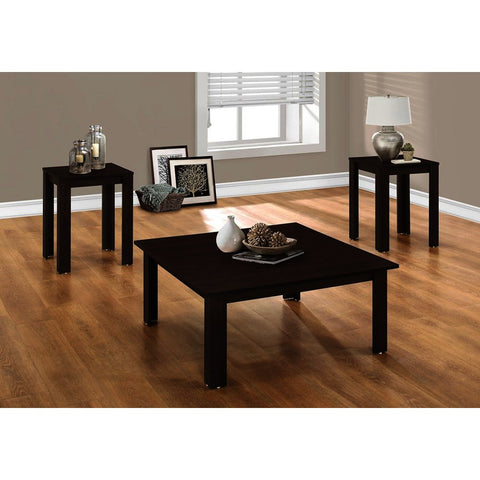 Monarch Specialties 7910P 3 Piece Coffee Table Set in Cappuccino