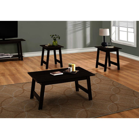 Monarch Specialties 7930P 3 Piece Coffee Table Set in Cappuccino