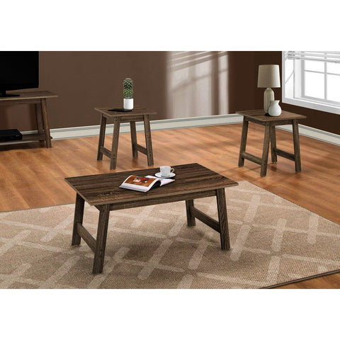 Monarch Specialties 7931P 3 Piece Coffee Table Set in Dark Taupe
