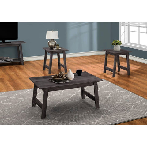 Monarch Specialties 7932P 3 Piece Coffee Table Set in Grey