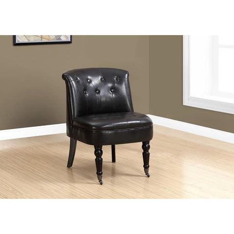 Monarch Specialties 8172 Accent Chair in Traditional Style Dark Brown Leather Look