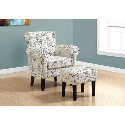 Monarch Specialties 8175 Accent Chair w/Ottoman in Vintage French Fabric