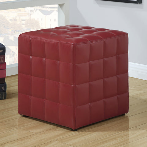Monarch Specialties 8979 Ottoman in Red Leather