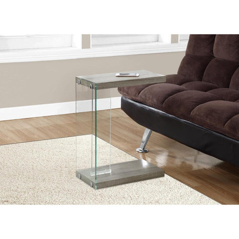 Monarch Specialties Accent Table Dark Taupe With Tempered Glass