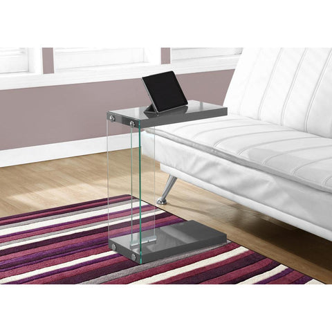 Monarch Specialties Accent Table Glossy Grey With Tempered Glass