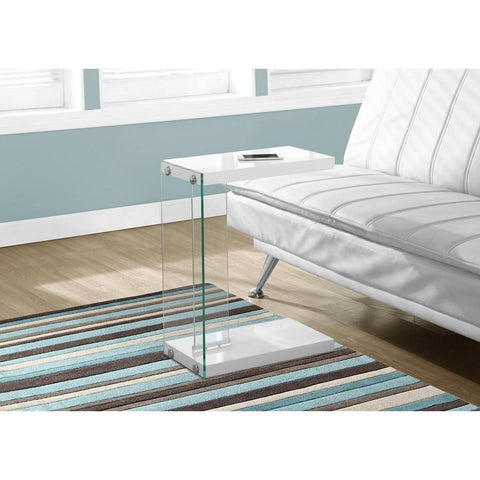 Monarch Specialties Accent Table Glossy White With Tempered Glass