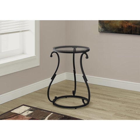 Monarch Specialties Accent Table Hammered Black Metal With Tempered Glass 3330