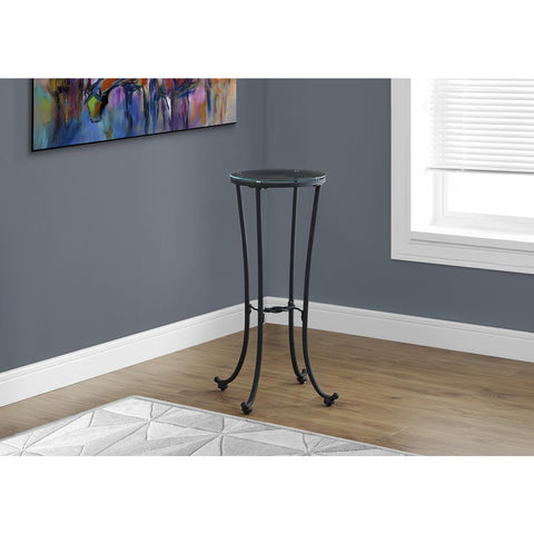 Monarch Specialties Accent Table Hammered Black Metal With Tempered Glass 3332