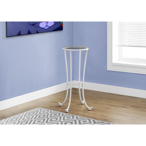 Monarch Specialties Accent Table White Metal With Tempered Glass