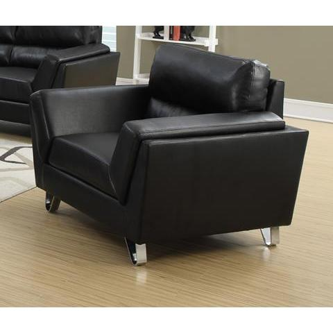 Monarch Specialties Black Bonded Leather Match Chair I 8201BK