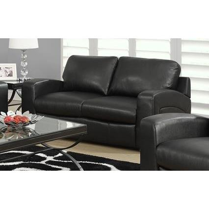 Monarch Specialties Black Bonded Leather Match Love Seat I 8502BK