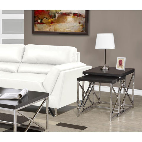 Monarch Specialties Cappuccino Hollow-Core Chrome Metal Two Pieces Nesting Tables I 3271