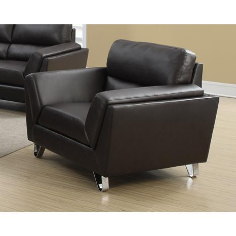 Monarch Specialties Dark Brown Bonded Leather Match Chair I 8201BR