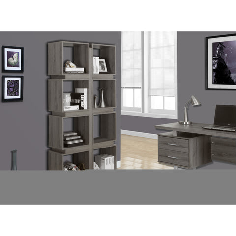 Monarch Specialties Dark Taupe Reclaimed-Look Bookcase I 7078