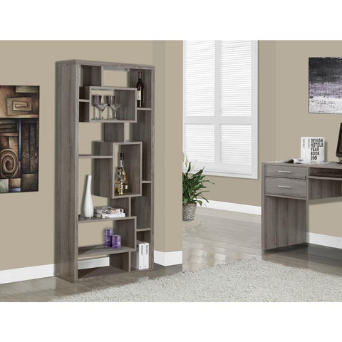 Monarch Specialties Dark Taupe Reclaimed-Look Bookcase I 7072