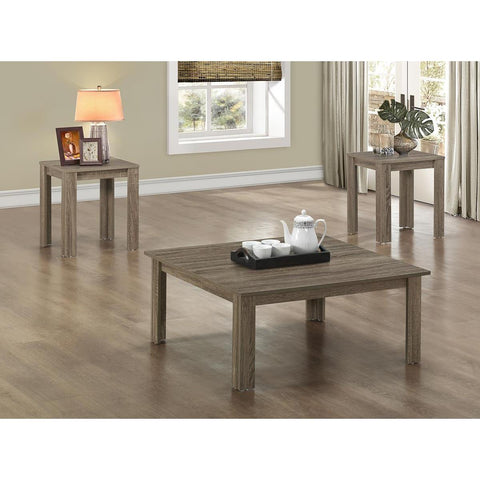 Monarch Specialties Dark Taupe Reclaimed-Look Three Pieces Square Table Set I 7913P