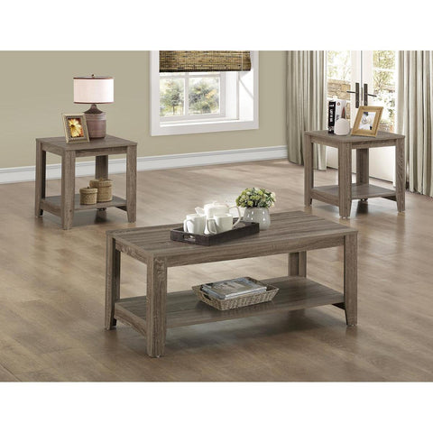 Monarch Specialties Dark Taupe Reclaimed-Look Three Pieces Table Set I 7914P