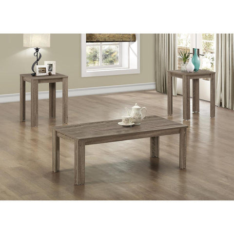 Monarch Specialties Dark Taupe Reclaimed-Look Three Pieces Table Set I 7912P