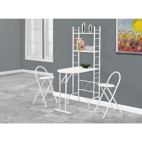 Monarch Specialties Dining Set 3 Piece Set In White Top In White Metal