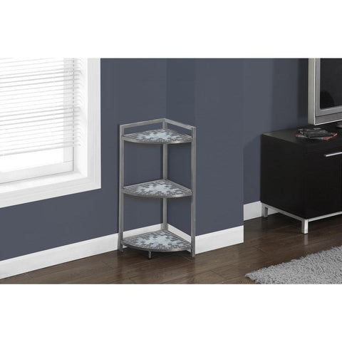 Monarch Specialties Grey Blue Tile Top Hammered Silver Corner Etagere I 3146
