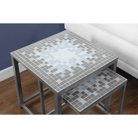 Monarch Specialties Grey Blue Tile Top Hammered Silver Two Pieces Nesting Table I 3141