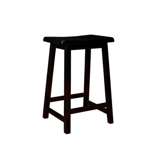 Monarch Specialties I 1531 Distressed Black 24 Inch Saddle Seat Barstool