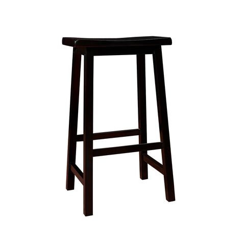 Monarch Specialties I 1532 Distressed Black 29 Inch Saddle Seat Barstool