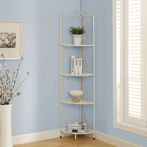 Monarch Specialties I 2101 White Metal 70 Inch Corner Display Etagere