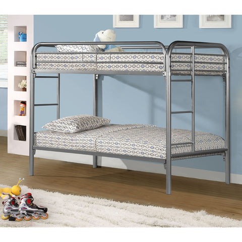 Monarch Specialties I 2230S Silver Metal Twin/Twin Bunk Bed