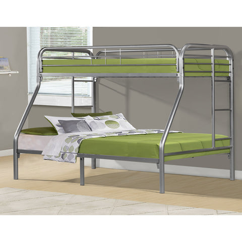 Monarch Specialties I 2231S Silver Metal Twin/Full Bunk Bed