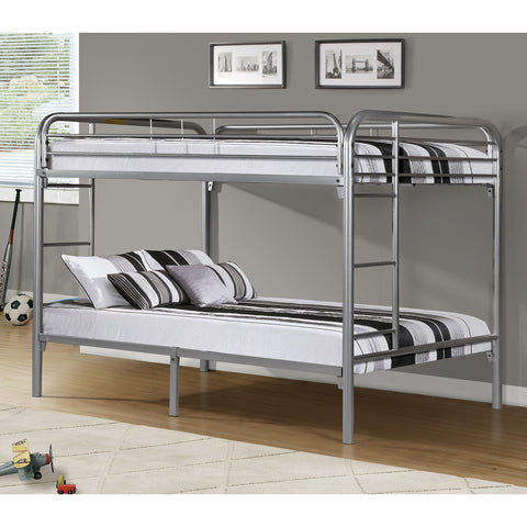 Monarch Specialties I 2233S Silver Metal Full/Full Bunk Bed