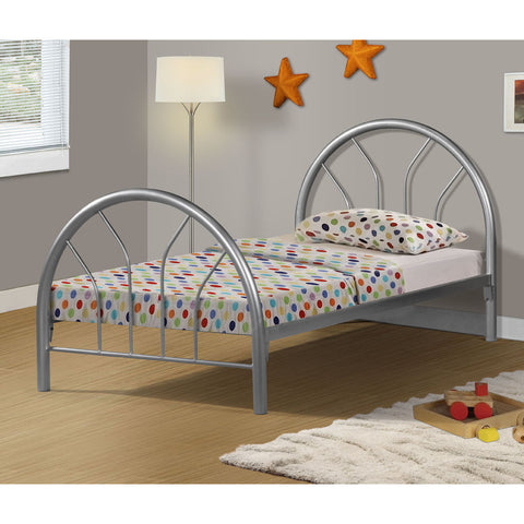 Monarch Specialties I 2389S Silver Metal Twin Bed Frame