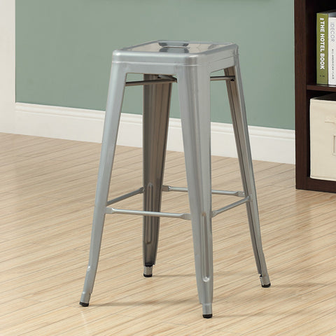 Monarch Specialties I 2402 Silver Galvanized Metal 30 Inch Cafe Barstool