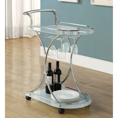 Monarch Specialties I 3016 Chrome Metal / White Tempered Glass Server on Castors