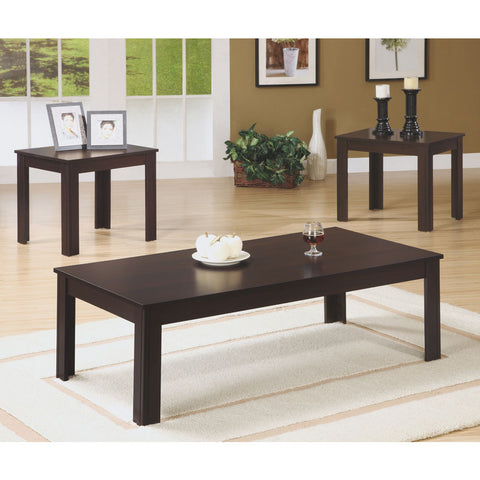 Monarch Specialties I 7842P Cappuccino 3 Piece Coffee Table Set
